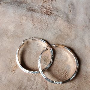 2 in. rose gold hoops with faux diamonds